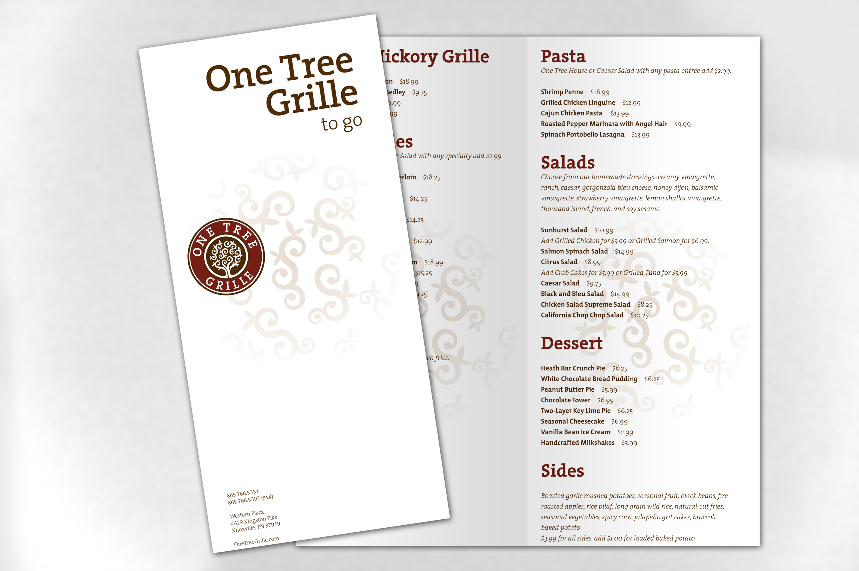 otg togo menu One Tree Grille